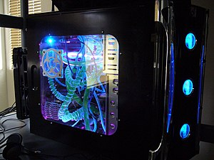 Enthusiast computing - A common design in custom-built gaming PCs incorporates a neon colored case and a clear plastic side window.