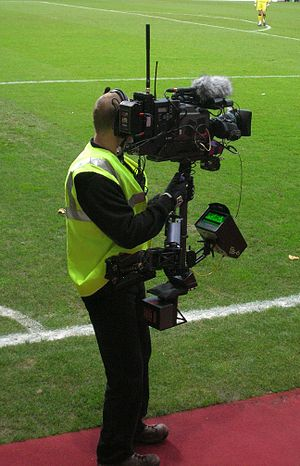 Scottish Premier League - A cameraman pitchside at Tynecastle Stadium