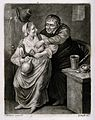 A lecherous old man leans over to a molest a woman who holds Wellcome V0019500.jpg