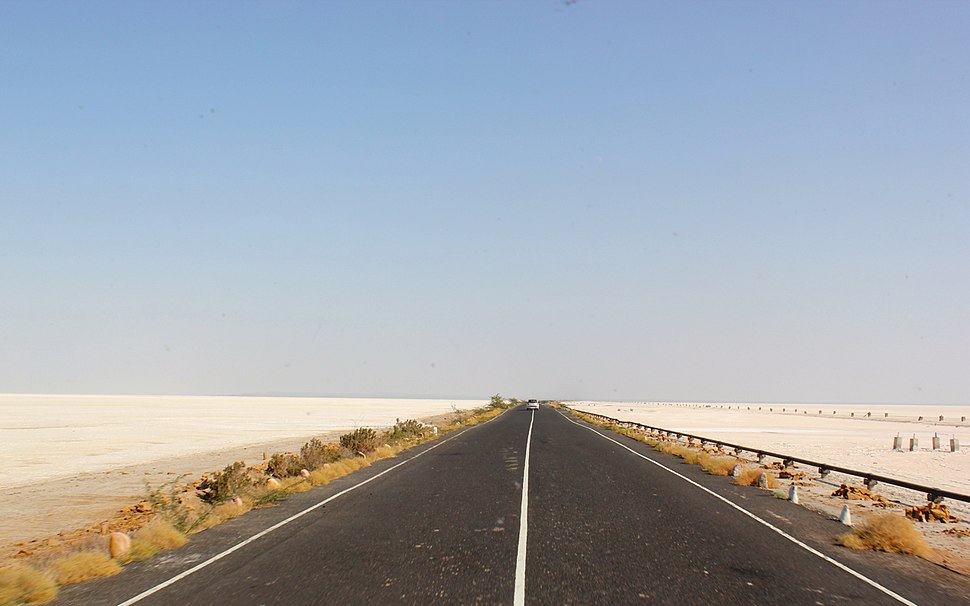 A state highway through the Rann of Kutch