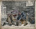 A surgeon treating the foot of a male patient. Coloured penc Wellcome V0016752.jpg