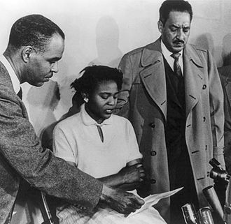 Autherine Lucy - Autherine Lucy with Roy Wilkins and Thurgood Marshall of NAACP in 1955