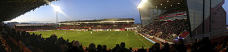 Aberdeen F.C.–Rangers F.C. rivalry - Aberdeen's Pittodrie Stadium viewed from the away supporters' section (2006)