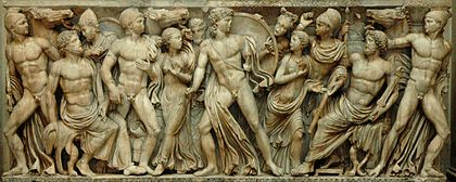 Achille tra le figlie di Licomede, da un sarcofago attico, 240 d.C. ca. conservato a Parigi, Louvre.