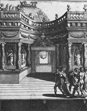 Hôtel de Bourgogne (theatre) - Setting for Act 5 of Le Martyre de Sainte Catherine by Jean Puget de la Serre, first produced in 1643 at the Hôtel de Bourgogne and a possible example of the use of the théâtre supérieur