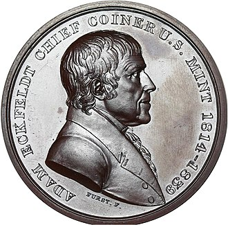 Adam Eckfeldt - Silver replica of retirement medal for Eckfeldt, by Moritz Fuerst