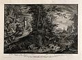Adam overlooks the Garden of Eden. Etching by J.E. Ridinger Wellcome V0034425.jpg