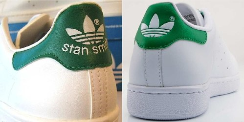 new products 9ab87 f58b9 The two different green foam paddings of the Adidas Stan Smith (left  picture) and