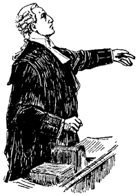 An artist's rendition of an English and Irish barrister