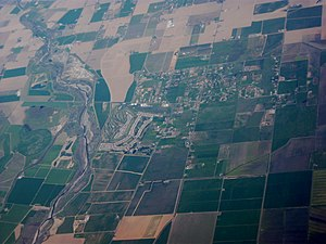 Yolo County, California - Aerial view of Watts Woodland Airport and surrounding area