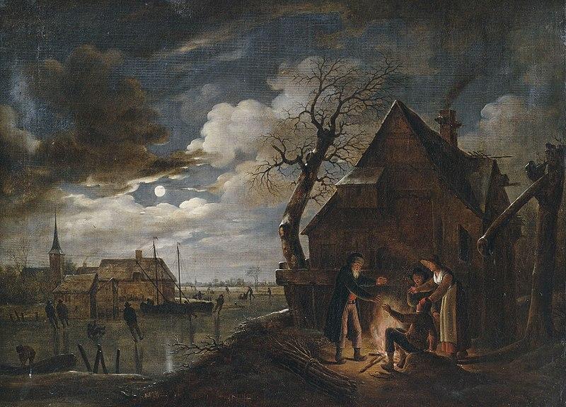 File:Aert van der Neer (attr) Holländische Kanallandschaft bei Mondschein mit Lagerfeuer.jpg
