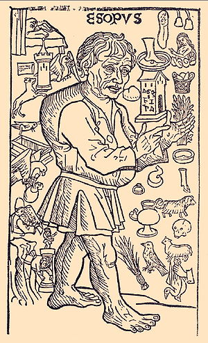 Aesop - A woodcut from La vida del Ysopet con sus fabulas historiadas (Spain, 1489) depicting a hunchbacked Aesop surrounded by events from the stories in Planudes' version of his life