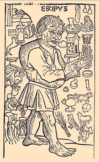 Aesop - A woodcut of Aesop surrounded by events from his life from La vida del Ysopet con sus fabulas historiadas (Spain, 1489)