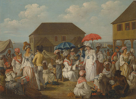 A linen market in Dominica in the 1770s Agostino Brunias - Linen Market, Dominica - Google Art Project.jpg