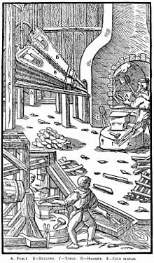 woodcut image with top showing man at open hearth with tongs and machine bellows to the side. Bottom shows man at water-operated hammer with a sluice nearby for quenching.