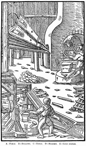 History of fluorine - Steelmaking illustration from an Agricola text