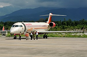 Dehradun Airport - An Air India Regional Bombardier CRJ700 at the airport in 2012