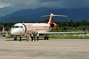 Dehradun Airport - An Air India Regional Bombardier CRJ700 at the airport in 2012