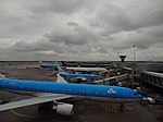 Aircrafts of KLM and Delta Air Lines parking at Amsterdam Airport Schiphol.jpg