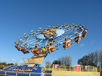 Enterprise (ride) - Alakazam at Pleasure Island, Cleethorpes, a Fly Away variation of the ride with a custom harness that gives the effect of riding a magic carpet