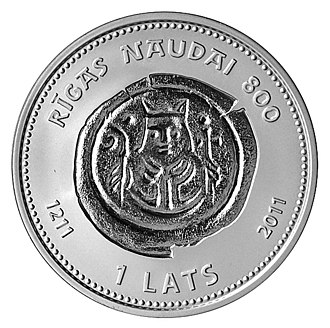 Commemorative coins of Latvia - Image: Albertins rev