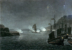 Murray Maxwell - Alceste firing at the Chinese forts in the Bocca Tigris