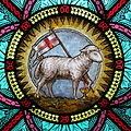 All Saints Catholic Church (St. Peters, Missouri) - stained glass, sacristy, Agnus Dei detail.jpg