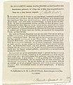 Alliantie tussen de Franse en Bataafse Republieken, decoratie op het Stadhuis op de Dam, 1795 (uitleg) De Alliantie tusschen de Fransche en Bataafsche Republieken geslooten, in 's Hage den 16 Mey 1795 en geratificeerd t, RP-P-OB-86.529A.jpg