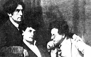 Peretz Markish - Left to right: Moishe Broderzon, Peretz Markish,