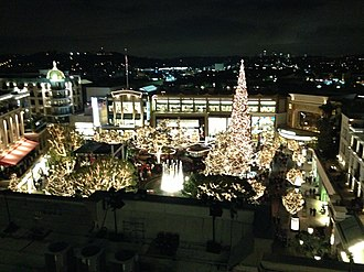 Americana at Brand - The Americana at Brand with its 100-foot Christmas tree as seen on Thursday, November 21, 2013.  This image was taken minutes after the Americana at Brand's annual Christmas tree lighting ceremony.  Downtown Los Angeles is visible in the distance.