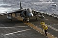 An AV-8B Harrier maneuvers into takeoff position on the flight deck of USS Wasp Oct. 2, 2016. An AV-8B Harrier maneuvers into takeoff position on the flight deck of USS Wasp Oct. 2, 2016. (29503639764).jpg