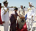 Anandiben Patel unveiling the bust of Sardar Vallabhai Patel at the commissioning ceremony of INS Sardar Patel, in Gujarat on May 09, 2015. The Chief of Naval Staff, Admiral R.K. Dhowan is also seen.jpg