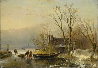 Winter Scene on the Ice with Wood Gatherers