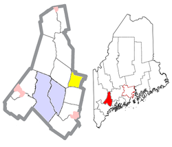 Location of Wales (in yellow) in Androscoggin County and the state of Maine