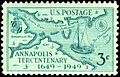 Annapolis Tercentenary 3c 1949 issue.JPG