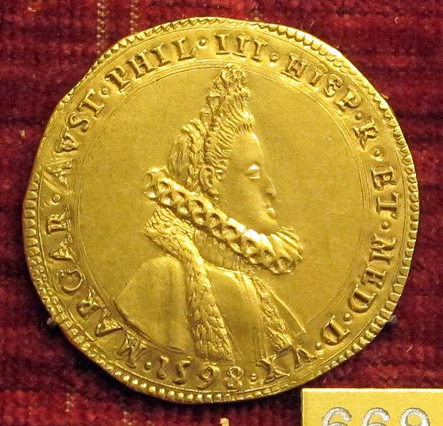 File:Anonimo, medaglia di margherita d'austria, moglie di filippo III di spagna, 1598, oro.JPG