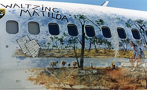 Waltzing Matilda - Waltzing Matilda mural on the side of an Ansett Boeing 737-300 in the mid-1990s