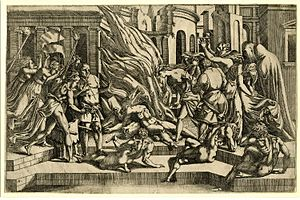 Antonio Fantuzzi - Possibly the Funeral of Hector, c.1542/43. Etching after Rosso Fiorentino, height 267 mm, width 405 mm. Signed on plate with monogram, bottom left.