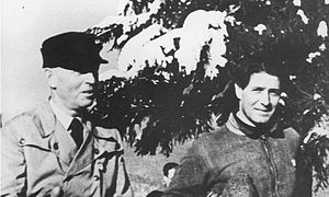 Ion Antonescu - General Antonescu (left) and Capitanul of the Iron Guard, Corneliu Zelea Codreanu, at a skiing event in 1935