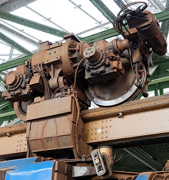 Wuppertal Suspension Railway - Detail of suspender, wheel and motor