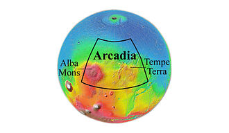 Arcadia quadrangle - Location of Arcadia quadrangle.  The Arcadia quadrangle is in the northcentral part of the Martian northwestern hemisphere, in the northern part of the Tharsis volcanic province.
