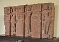 Architectural Piece Representing Three Standing Ladies in Different Postures - Mediaeval Period - Mahaban - ACCN 73-28 - Government Museum - Mathura 2013-02-23 4998.JPG