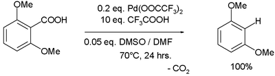 Aromatic decarboxylation by Palladium(II) trifluoroacetate