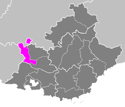 Location of Avignon in Provence-Alpes-Côte d'Azur