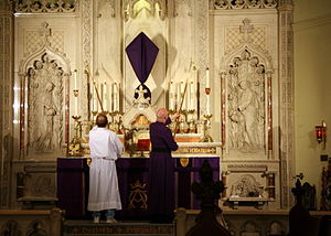 Lent - A veiled altar cross at an Anglican cathedral in St. Mary's Episcopal Cathedral, Memphis, Tennessee