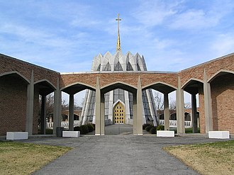 Gate of Heaven Cemetery (Hawthorne, New York) - Garden Mausoleum with Saint Francis of Assisi Chapel in the background