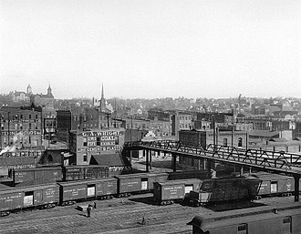 Atchison, Kansas - Looking north at the rail yard beneath the lower Sixth Street viaduct, circa 1880-1900