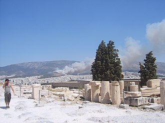 2007 Greek forest fires - Forest fire in the suburbs of Athens on 16 July