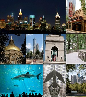 From top to bottom left to right: Atlanta skyline seen from Buckhead, the Fox Theatre, the Georgia State Capitol, Centennial Olympic Park, Millennium Gate, the Canopy Walk, the Georgia Aquarium, The Phoenix statue, and the Midtown skyline