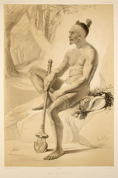 Drawing of a tattooed man from the Marquesas Islands, 1846. Atlas pittoresque pl 058.jpg